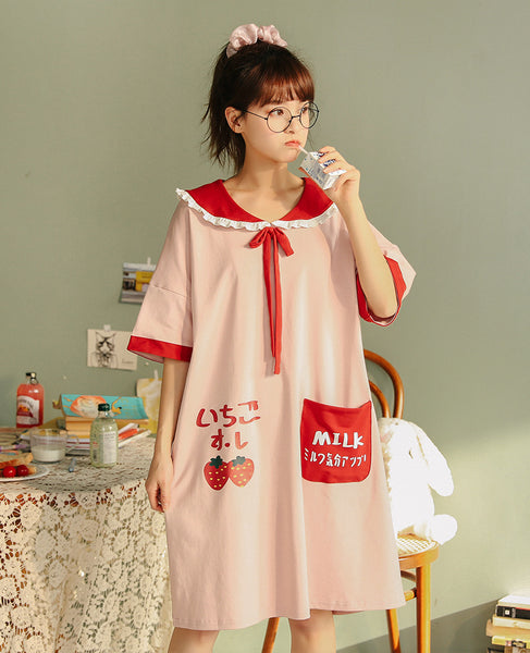 Kawaii Strawberry Milk Nightdress