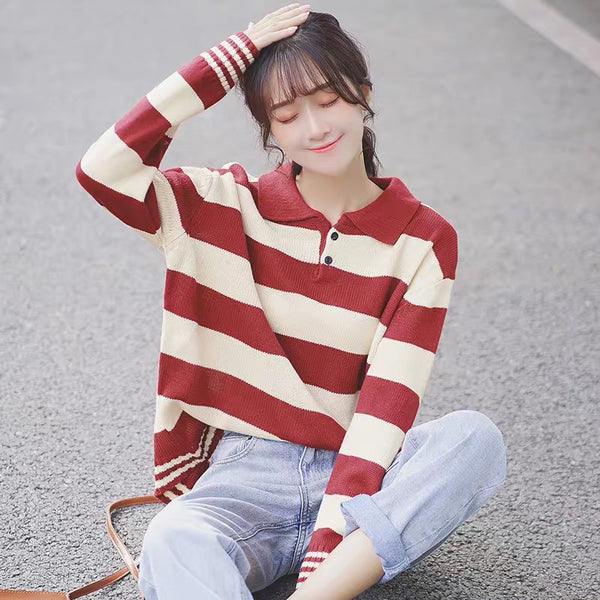 Harajuku Striped Knitwear