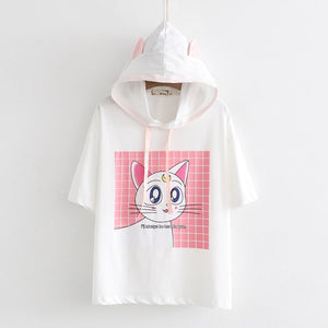 Moon Cat Cartoon Hooded T-shirt