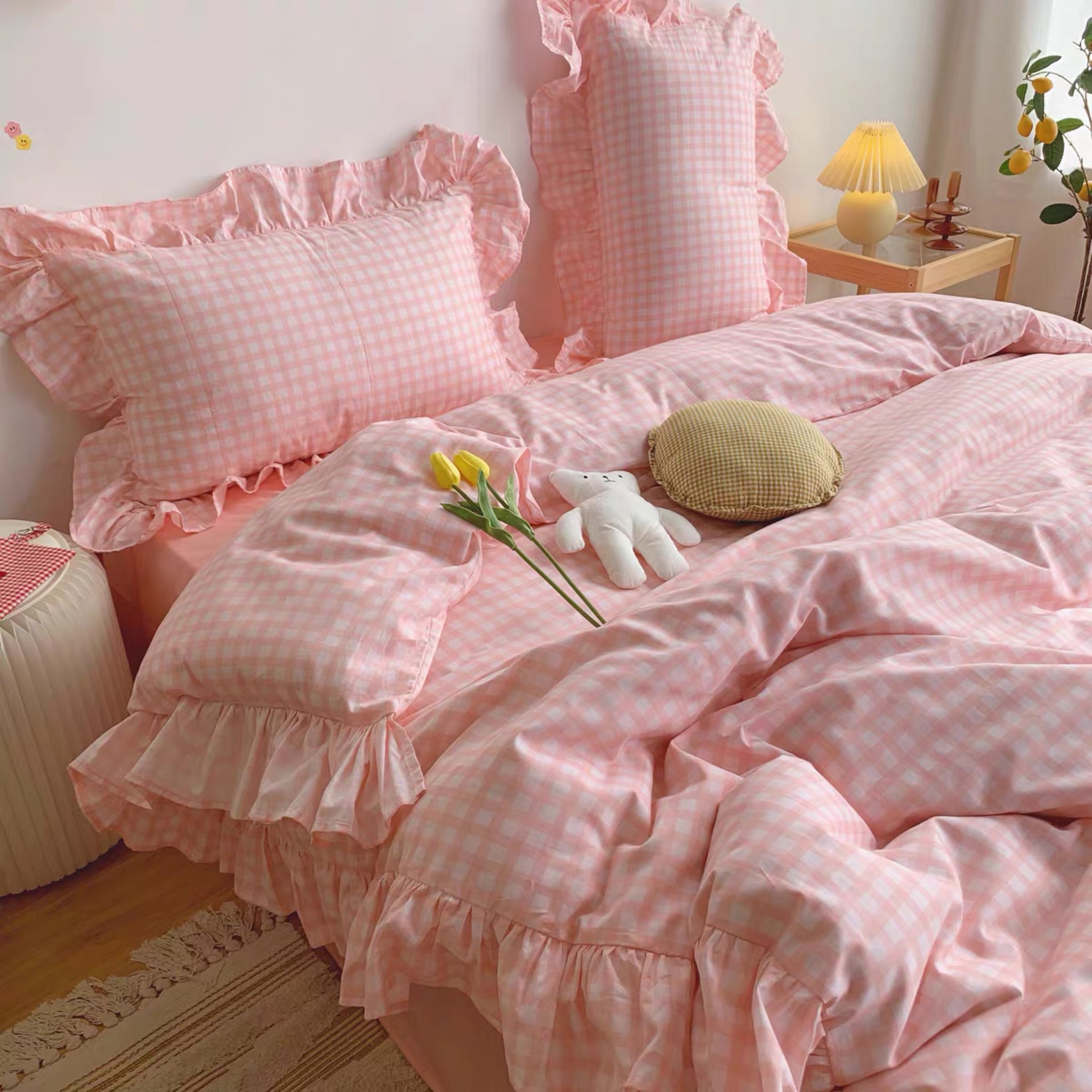 Pink Plaid Bedding Set