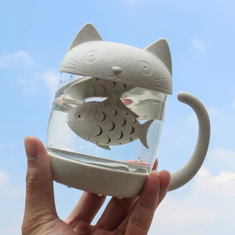Cat And Fish Drinking Bottle
