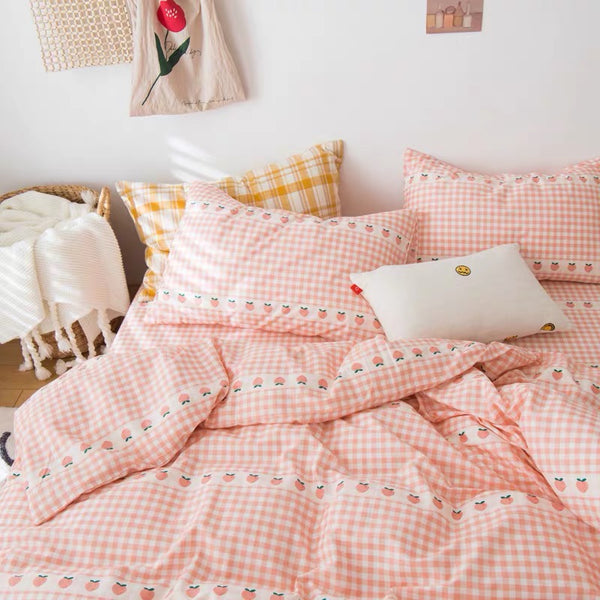 Plaid With Peach Bedding Set