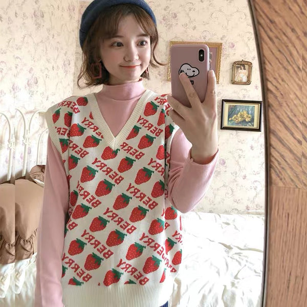 Cute Strawberry Knitted Vest