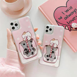 Boba Cat Phone Case For Iphone7/7plus/8/8plus/X/XS/XR/XSmax/11/11pro/11proMAX/12/12pro/12proMax