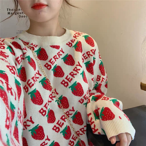 Strawberry Printed Sweater
