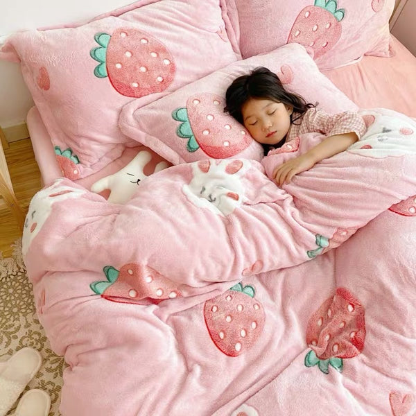 Lucky Bunny Strawberry Bedding Set