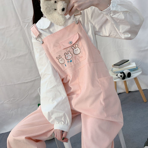 Cute Rabbits Suspender Trousers
