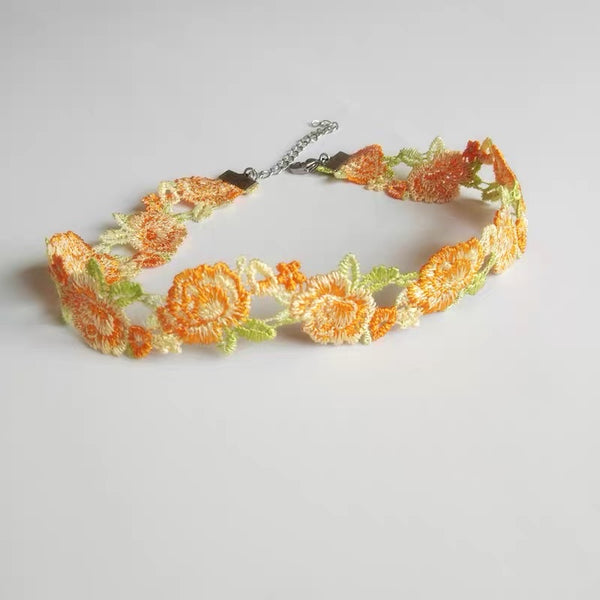 Embroidery Flowers Choker