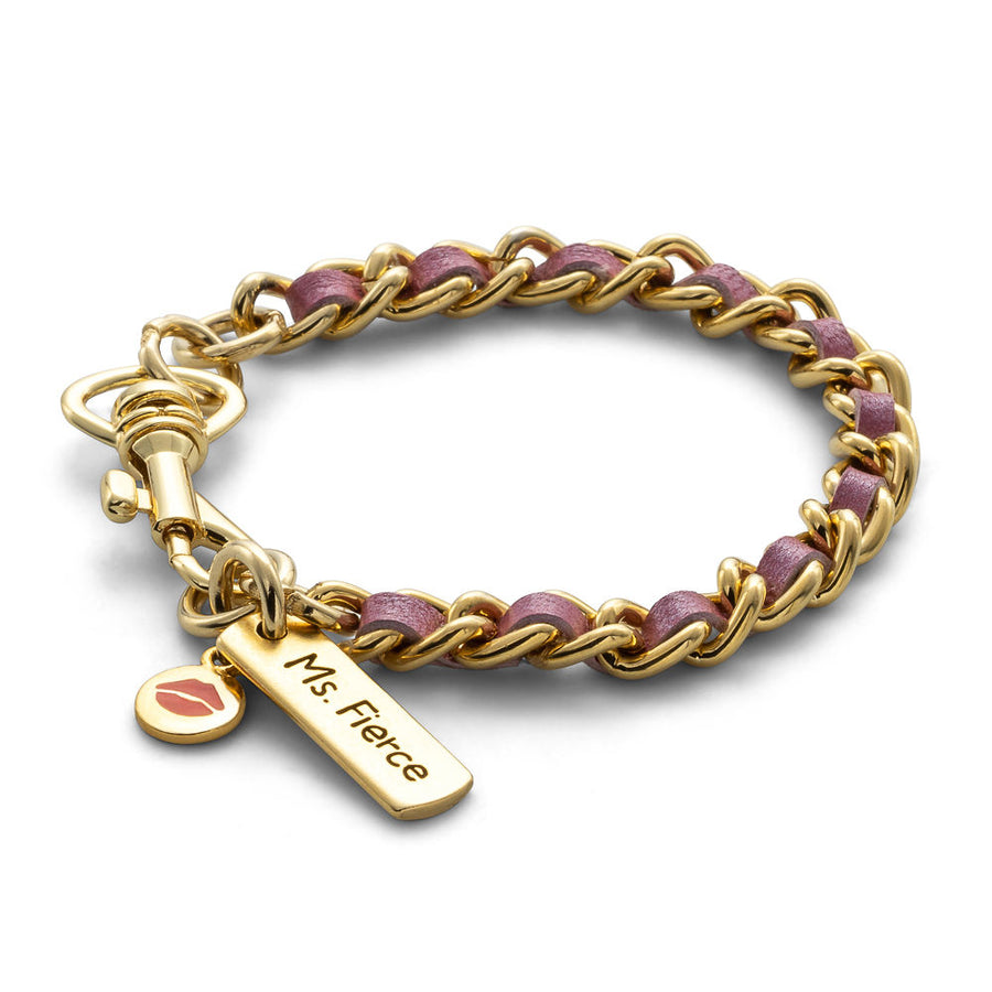 Lipstick Pink - Single Stack Gold Bracelet
