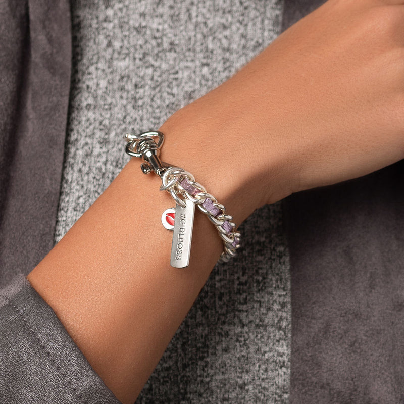 Metallic Rosé Single Stack Silver Bracelet