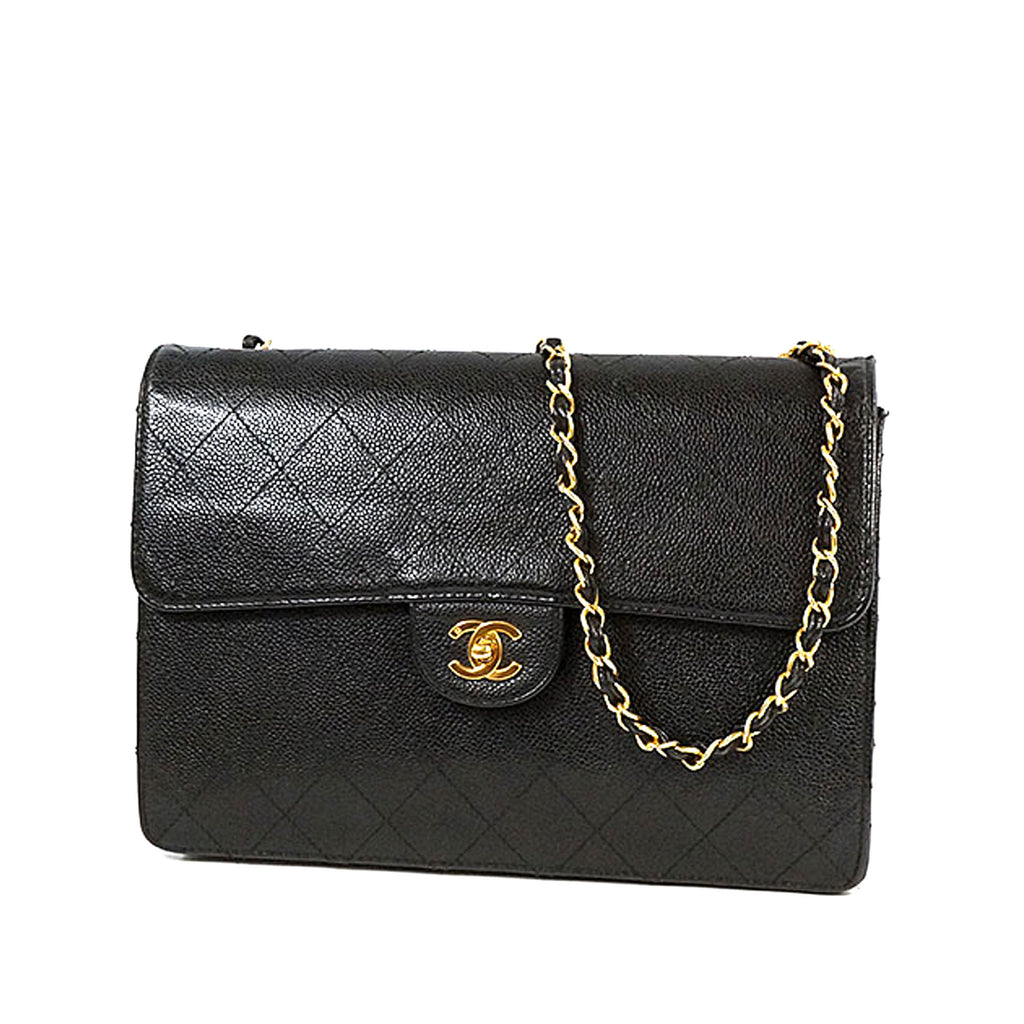 Chanel Vintage Black Caviar Leather Flap Bag