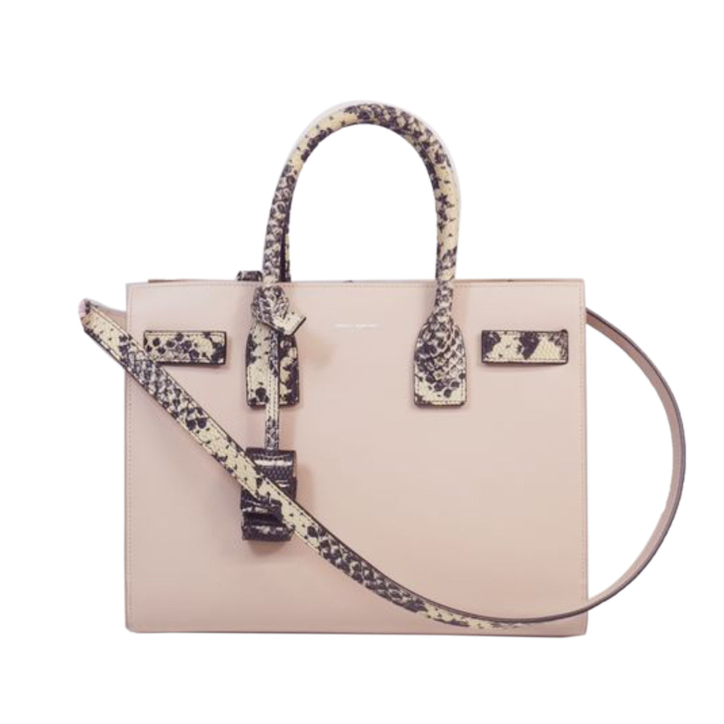 Yves Saint Laurent Python-Trimmed Sac De Jour Satchel in Pink