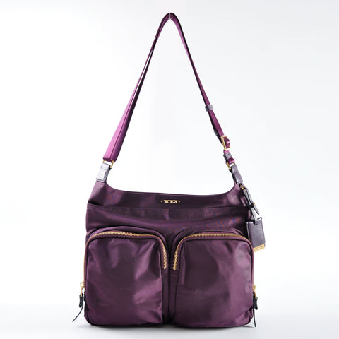 Tumi Voyageur Sadler Nylon Crossbody in Aubergine