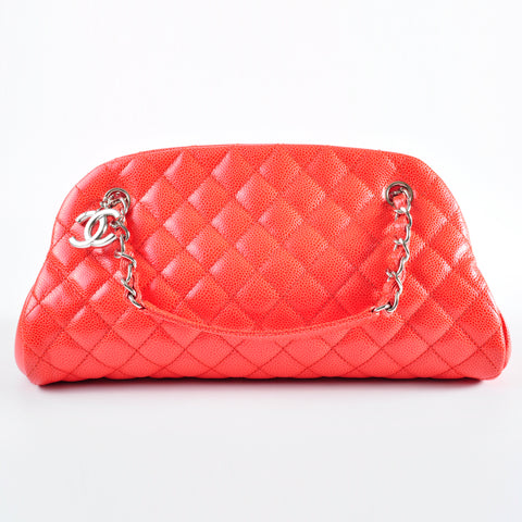 Chanel Mademoiselle Medium Orange Caviar Bag SHW 17744236 - Glampot