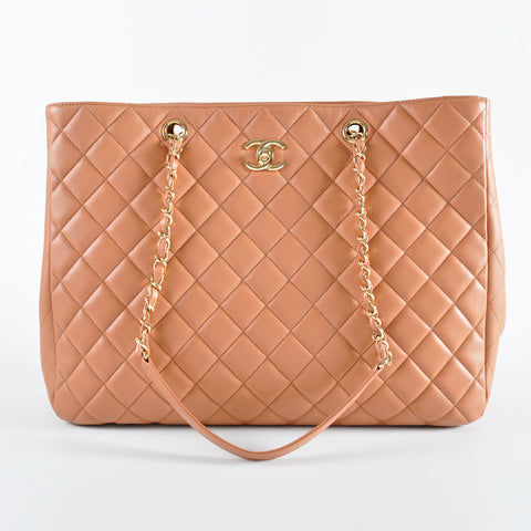 Chanel A91046 Large Classic Quilted Camel Lambskin Tote Bag GHW 23228861 - Glampot