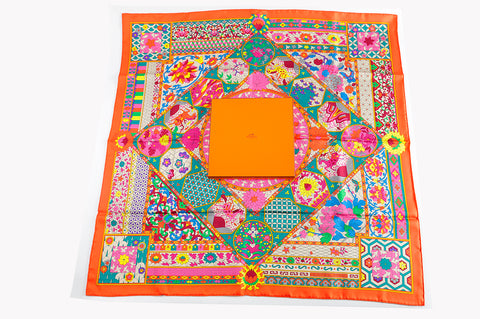 99a82ac8c86c Hermes Carre Twill 100% Soie 90cm Collections Imperiales Capucine Vert Rose  Scarf