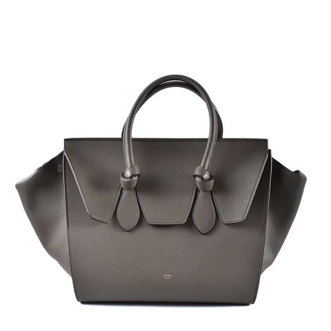 Celine Natural Calfskin Tie 'Small' Tote in Dark Khaki S-GB-016