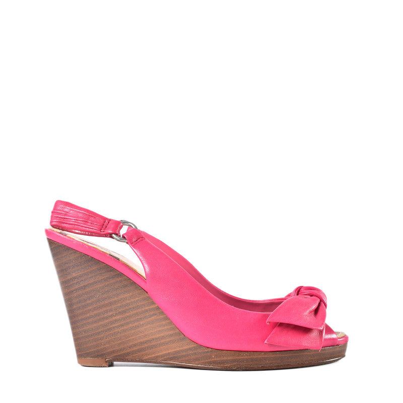 Burberry Pink Check Wedges Sling Back