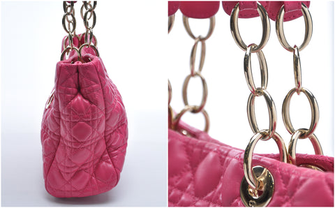 Dior Fuchsia Cannage Quilted Lambskin Leather Small Dior Soft Tote Bag GHW