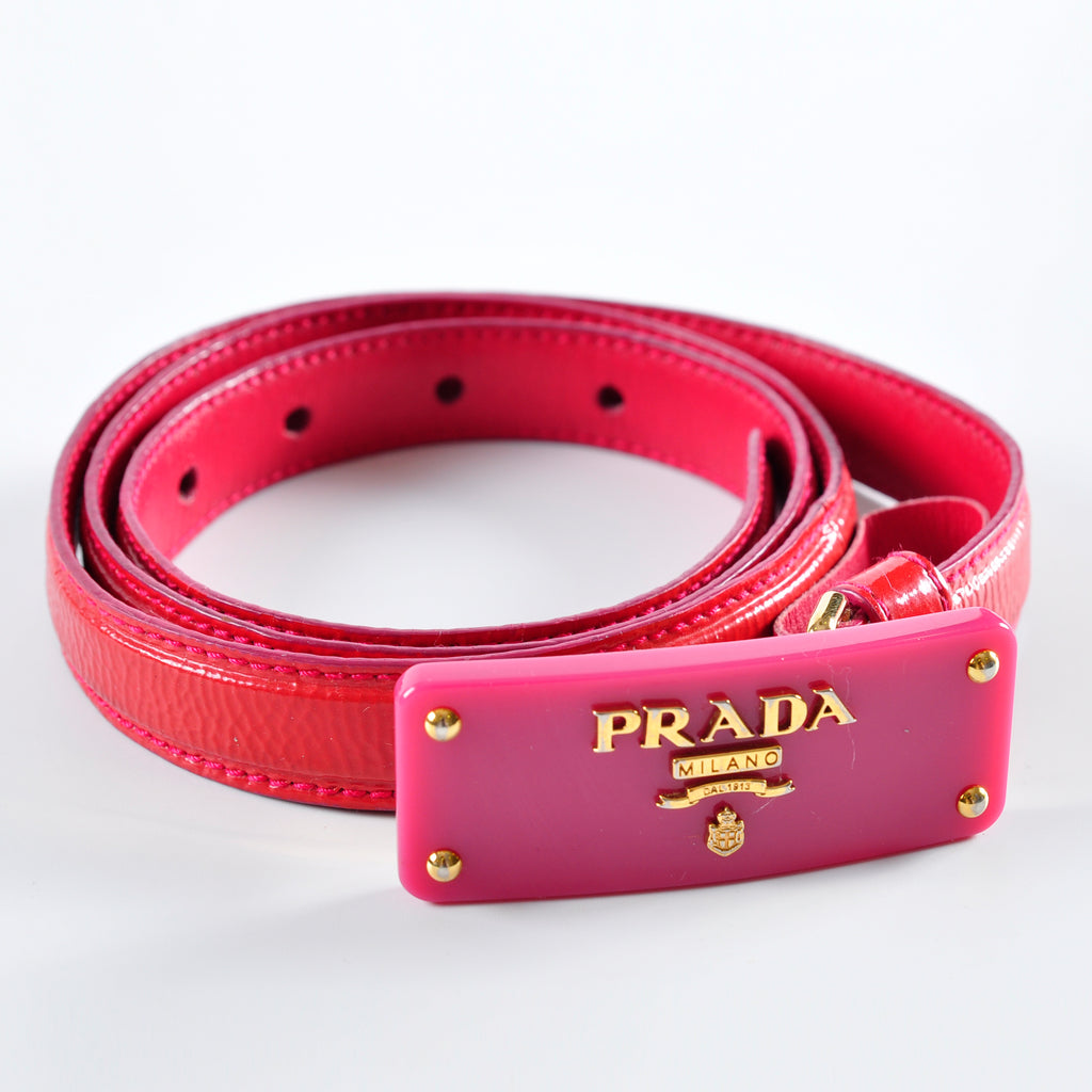 Prada Milano Belt Dark Pink Patent Leather Belt, Logo Buckle 34/85 1C 4408 4
