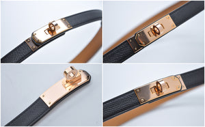 Kelly Black Epsom 89 Belt Rose Gold Hardware