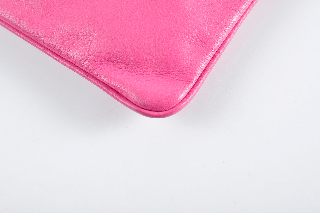 Jil Sander Pink Day Leather Clutch