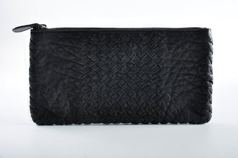 Bottega Veneta Woven Leather Pouch in Black B00350953Y - Glampot