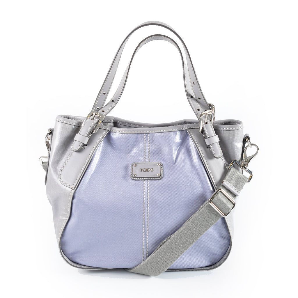 Tod's G-Line Small Canvas Shopping Bag in Blue Grey GR28