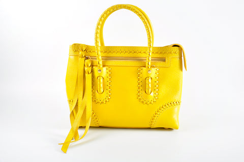 Alexander McQueen Folk Whipstitched Yellow Leather Tote 544483.333490 - Glampot