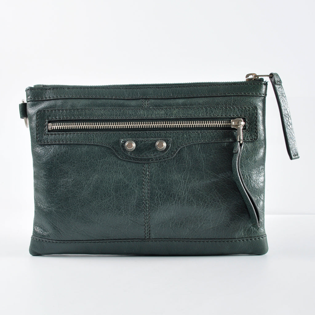Balenciaga Dark Green Flat Small Clutch - Glampot