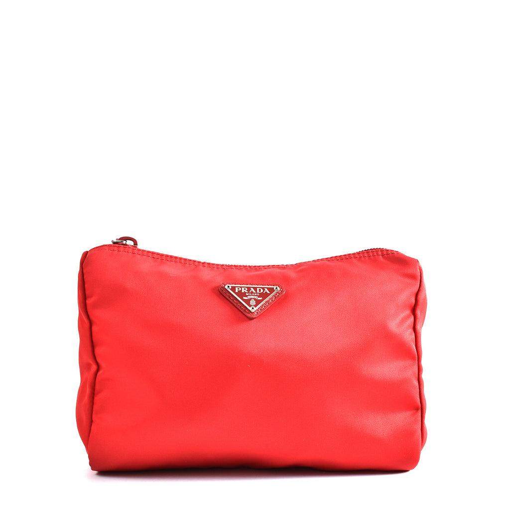 Prada Nylon Cosmetic Pouch in Red