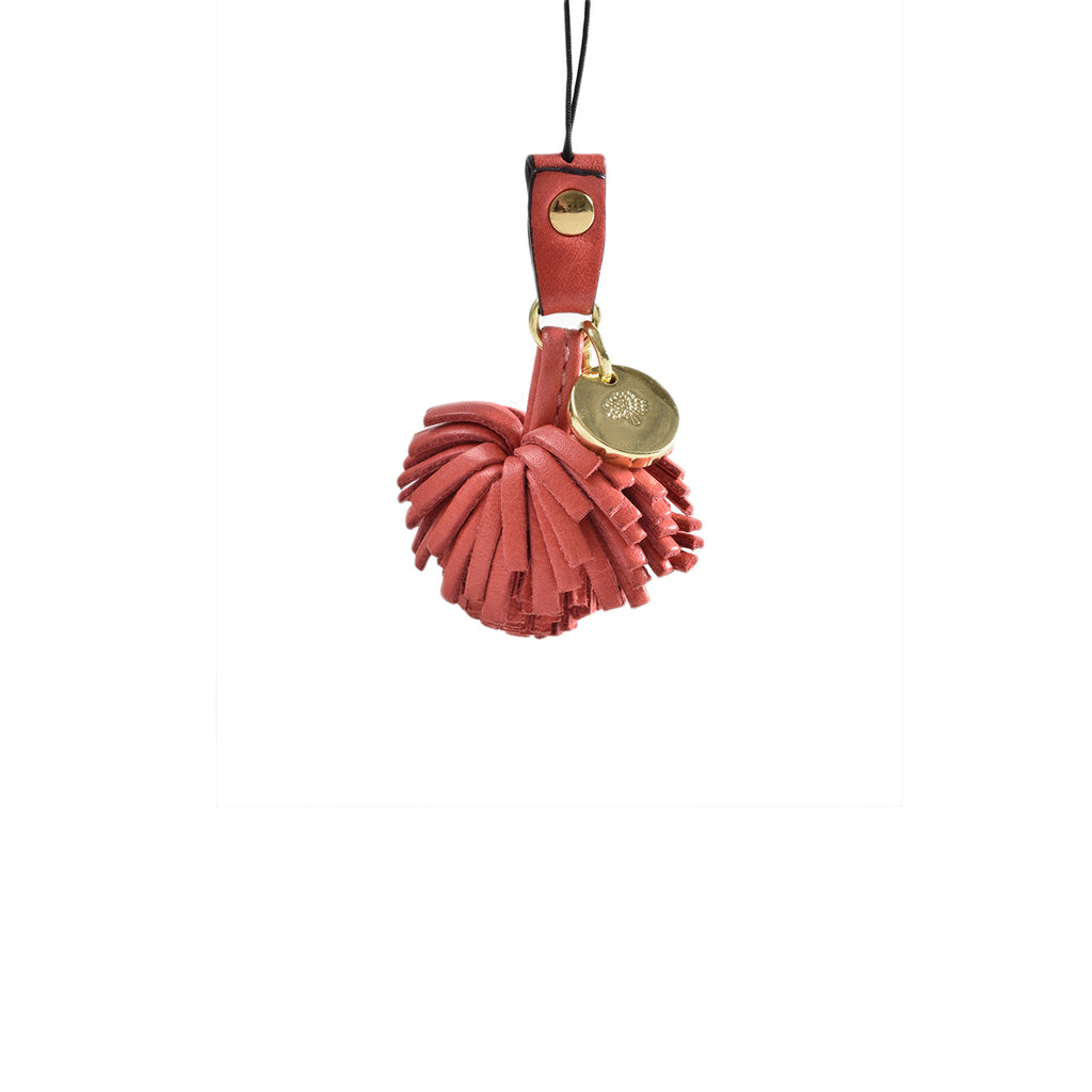 Mulberry Mini Leather Tassel Charm in Pink