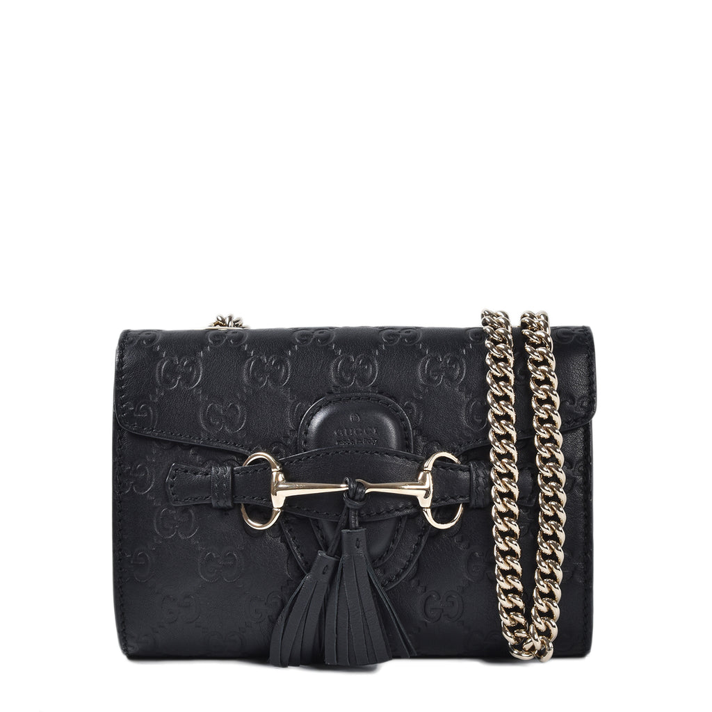 Gucci Guccissima Mini Emily Shoulder Bag in Black