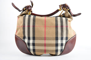 Burberry House Check Hobo with Dark Brown Leather Trim ITPELFAB12SCA - Glampot