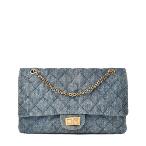 Chanel Blue Quilted Denim 2.55 Reissue Classic 226 Flap Bag 16330794 - Glampot