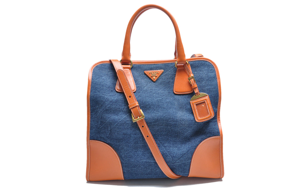 BN2254 Denim Avio + Saffiano Papaya Tote