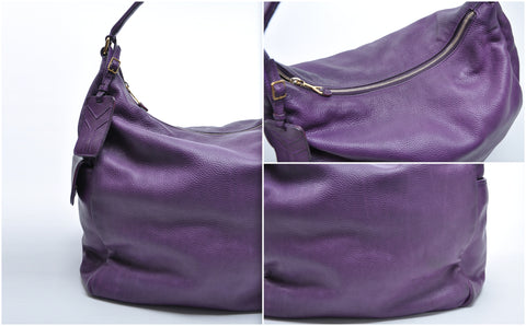 Purple Leather Hobo Shoulder Bag