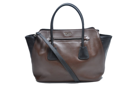 52ed8de9a763 Prada BN2611 Brown/Black Soft Calfskin Leather Shopping Tote Bag