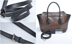 Prada BN2611 Brown/Black Soft Calfskin Leather Shopping Tote Bag