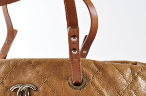 Chanel Brown Stitch Leather Shopping Tote - Glampot