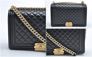 Boy New Medium Black Lambskin Gold Hardware - Glampot
