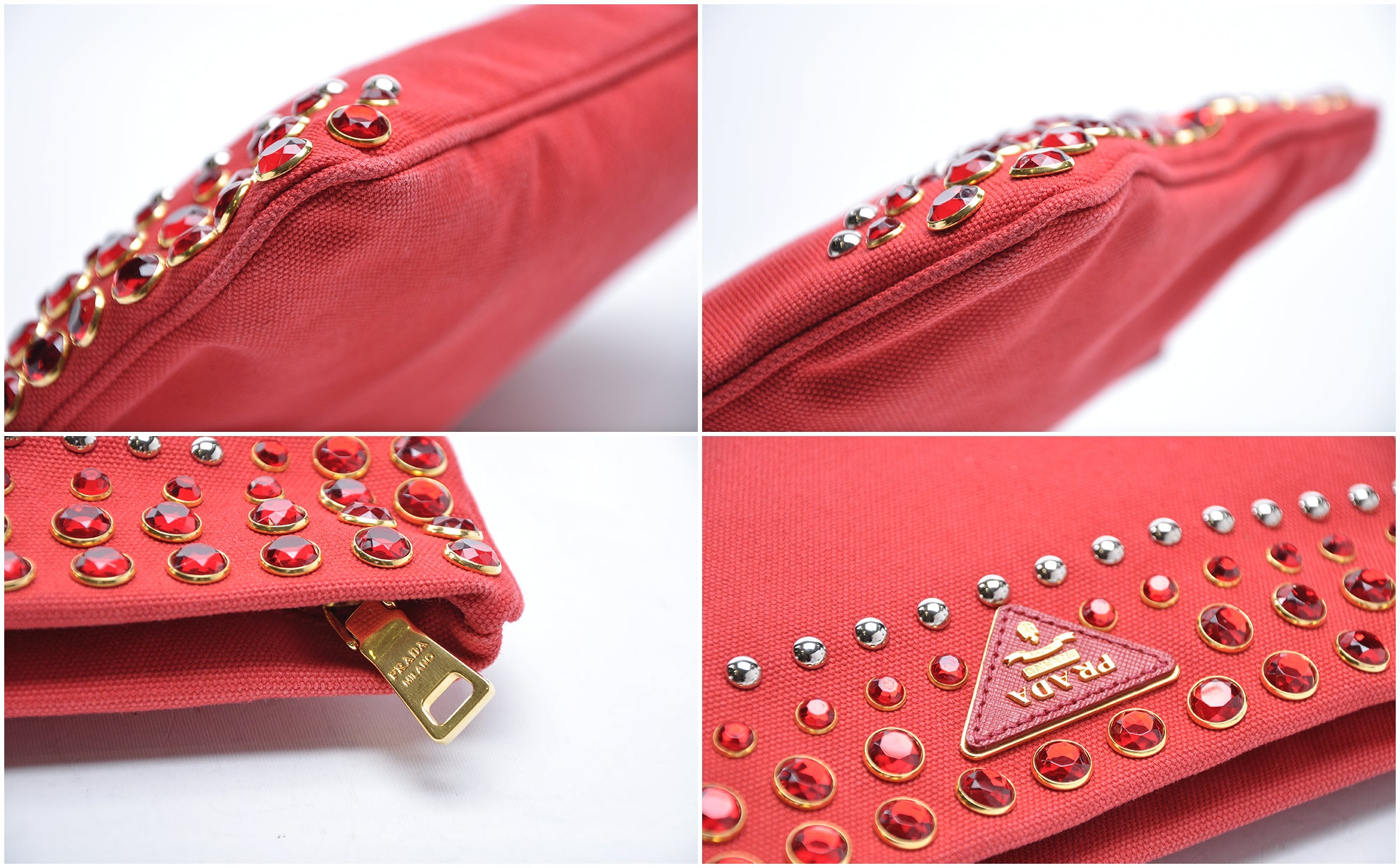 Prada BP5210 Red Canvas Clutch with Embellishments