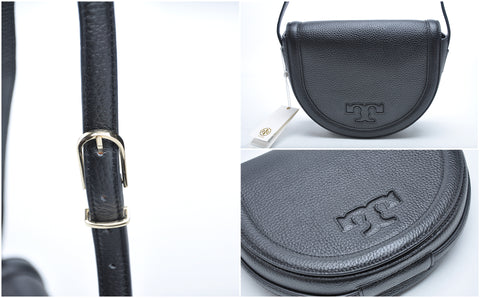 Tory Burch Serif T Saddle Bag Leather Crossbody in Black