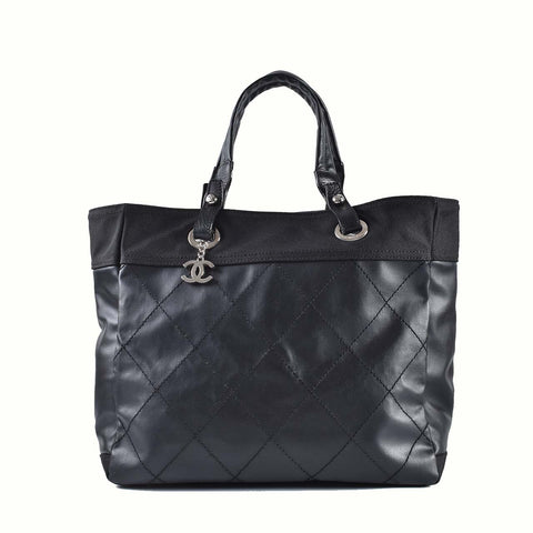 Chanel Biarritz Large Black Canvas Tote 13155449
