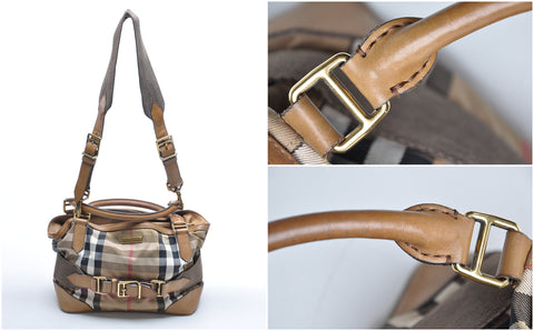 Burberry Bridle Check Canvas Shoulder bag with Strap - Glampot