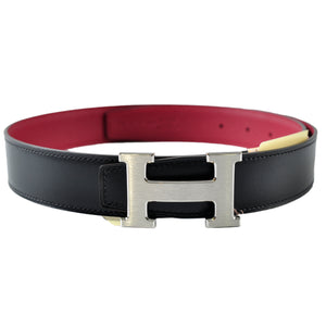 Hermes 32mm Black Box / Rouge Grenat Togo with Brushed Matte Palladium Buckle - Size 80 | Stamp A