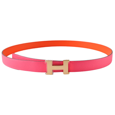 Hermes 24mm Epsom Rose Azalee / Swift Orange Poppy with 24mm Rose Gold Shiny Buckle - Size 90 | Stamp A
