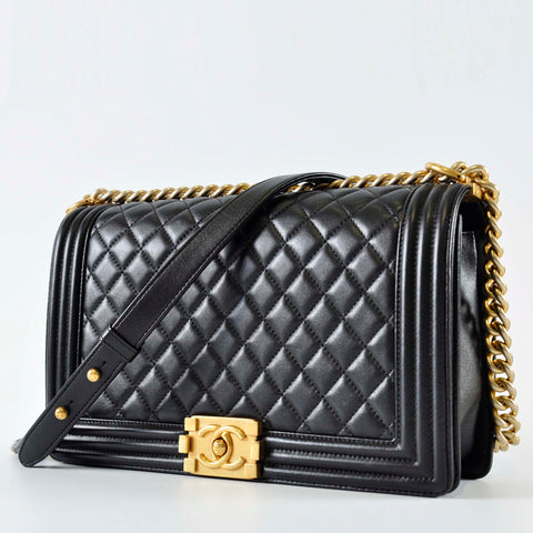 cb567e9d59f4 Chanel Boy New Medium Black Lambskin GHW 22276573 – Glampot