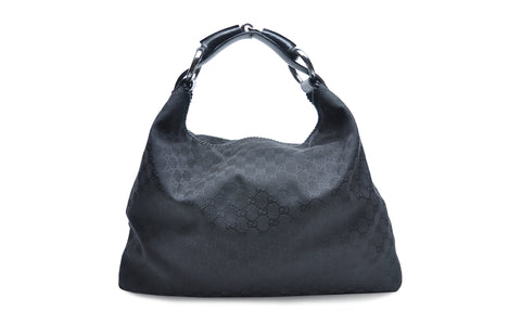 e7d7df6c7bb0e9 Gucci Black Leather Chain Large Horsebit Hobo Bag – Glampot