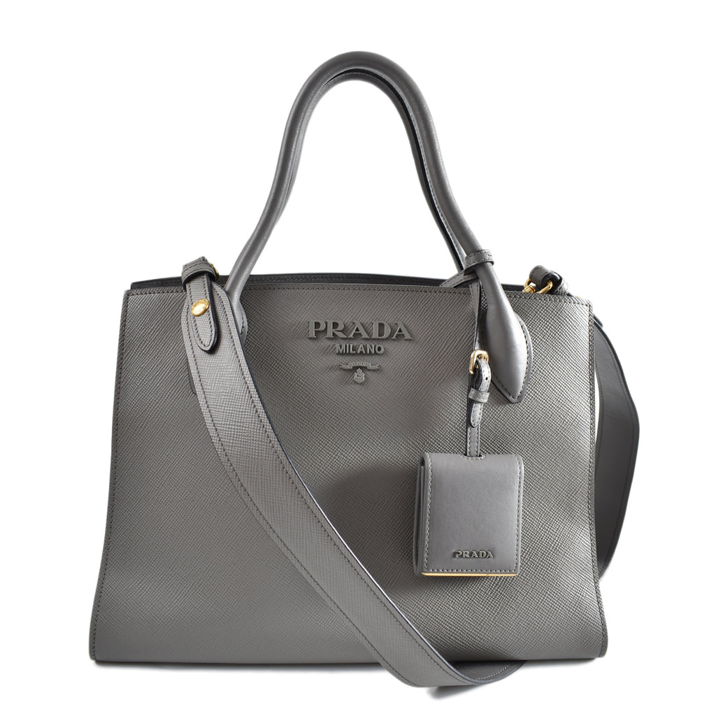 Prada Monochrome Saffiano Leather Bag in Grey